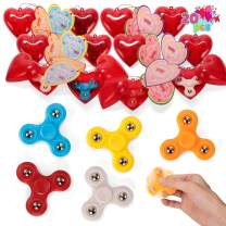 JOYIN 20 Valentines Day Red Prefilled Hearts with Valentine Cards Filled with Fidget Spinner for Kids Party Favor, Classroom Exchange Prizes, Valentine's Greeting Gifts