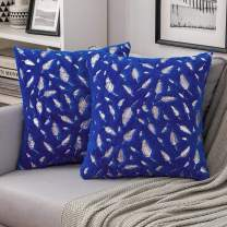 MIULEE Throw Pillow Covers Set of 2 Decorative Faux Fur Silver Feathers Gilding Leaves Cushion Cases Soft Fluffy Pillowcases for Coush Sofa Bed, 18x18 Inch, Blue