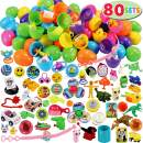 """80 Packs Pre Filled Easter Eggs with Novelty Toys and Stickers, 2 3/8"""" 80 Bright Colorful Easter Eggs for Easter Basket Stuffers, Easter Party Favors, Easter Egg Hunt, Classroom Events"""