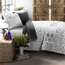 Lush Decor Charcoal Monique 3 Piece Reversible Print Pattern Quilt Set King
