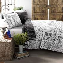 Lush Decor Charcoal Monique 3 Piece Reversible Print Pattern Quilt Set King