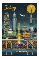 Tokyo, Japan - Retro Skyline (Premium 1000 Piece Jigsaw Puzzle for Adults, 20x30, Made in USA!)