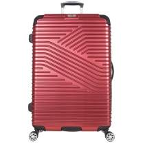 "Ben Sherman Bangor 28"" Lightweight Hardside PET 8-Wheel Spinner Expandable Checked Luggage / Suitcase, Warm Red"