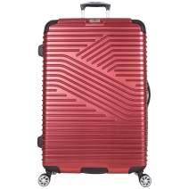 "Ben Sherman Bangor 28"" Lightweight Hardside PET 8-Wheel Spinner Expandable Checked Luggage / Suitcase, Warm Red"
