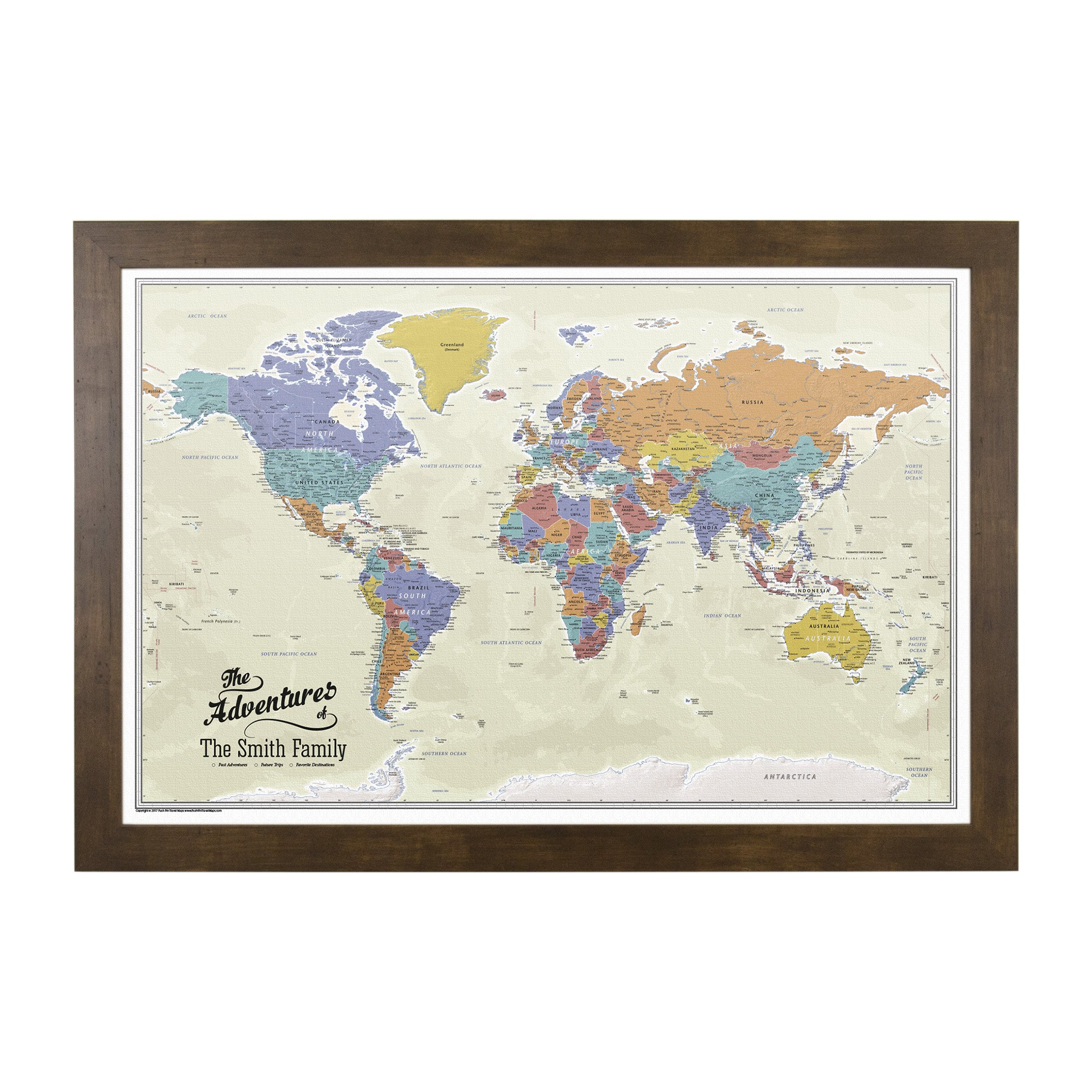 Push Pin Travel Maps Canvas - Personalized Tan Oceans World with Rustic Brown Frame