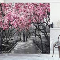 """Ambesonne NYC Shower Curtain, Blossoms in Central Park Landscape with Cherry Trees Forest in Spring Season Picture, Cloth Fabric Bathroom Decor Set with Hooks, 70"""" Long, Magenta Grey"""