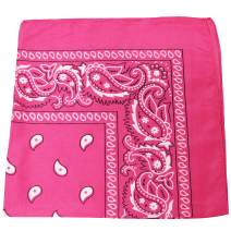 Pack of 6 X Large Paisley 100% Cotton Double Sided Printed Bandana - 27 x 27 inches