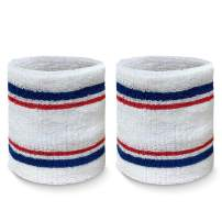 COUVER Tennis Style Premium Quality Athletic Terry Wristband Sweatband(1 Pair)