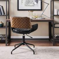 Volans Home Office Chair Mid Century Modern Bentwood Swivel Accent Office Desk Chair with Leather Upholstery, Adjustable Height Task Chair with Armrest, Black