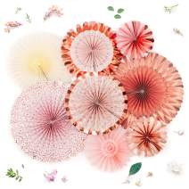 PapaKit Origami Wall Decoration Set (8 Assorted Round Paper Fans) Birthday Party Baby Shower Wedding Events Decor | Creative Art Design Pattern (Lustrous Pink Coral with Metallic Rose Gold)