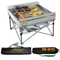 Pop-Up Fire Pit | Portable Outdoor Fire Pit and BBQ Grill | Packs Down Smaller than a Tent | Two Carrying Bags Included | Large Grilling Area (Fire Pit, Heat Shield, and Tri-Fold Grill Included)