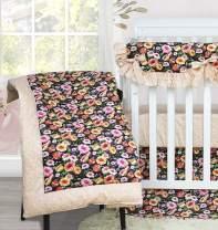 Brandream Baby Girls Floral Crib Comforter Sets Vintage Nursery Comforter Bedding 100% Cotton Black/Coral Newborn/Infant/Toddler Soft Warm Comforter Quilt, Elegant Baby Shower Gift