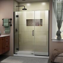 DreamLine Unidoor-X 64 1/2-65 in. W x 72 in. H Frameless Hinged Shower Door in Satin Black, D12830572-09