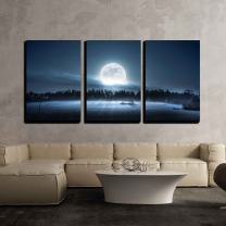 """wall26 - 3 Piece Canvas Wall Art - The Moon Rising Over The Forest and Meadow in The Cold and Misty Morning - Modern Home Decor Stretched and Framed Ready to Hang - 16""""x24""""x3 Panels"""