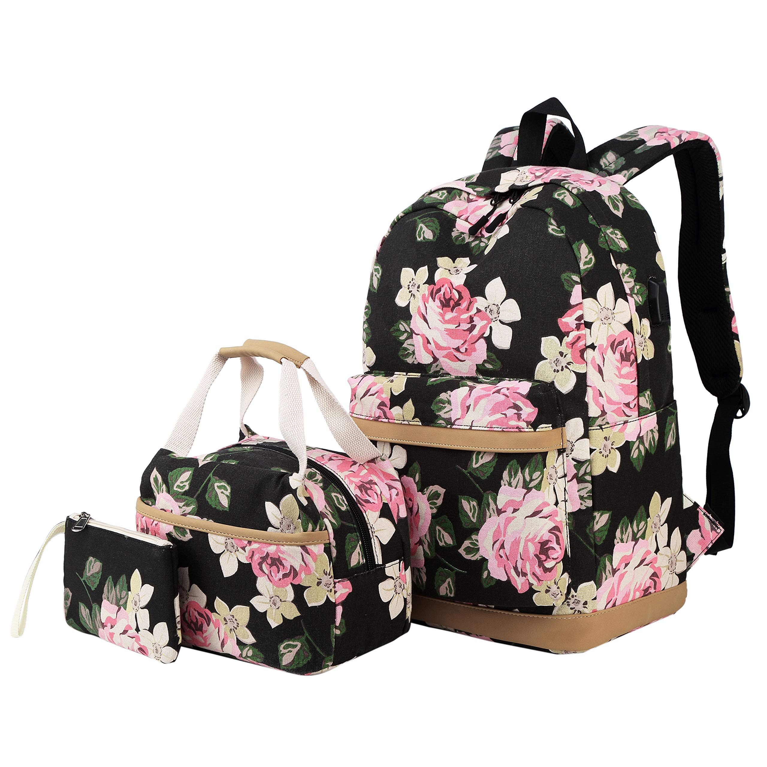 Backpack for Girls Teens High School and College, Bookbags +Lunch Bag + Pencil Case, 3 bags in 1
