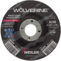 """Weiler 56464 4 1/2"""" x 1/4"""" Wolverine Type 27 Grinding Wheel, A24R, 7/8"""" A.H. (Pack of 10)"""
