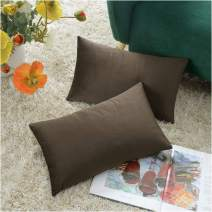 COMFORTLAND New Year/Christmas Decorative Pillow Covers 12x20 Dark Coffee: 2 Pack Cozy Soft Velvet Rectangular Throw Pillow Cases for Farmhouse Sofa Couch Bed Chair Home Decor Decorations