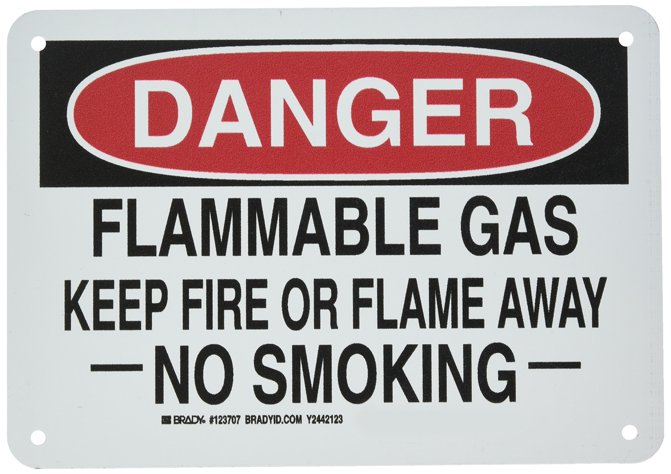"""Brady 123707 Chemical and Hazard Sign, Legend""""Flammable Gas Keep Fire Or Flame Away No Smoking"""", 7"""" Height, 10"""" Width, Black and Red on White"""