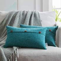 WESTERN HOME WH Decorative Throw Pillow Covers, Triple Button Vintage Cushion Covers, Rectangle Pillow Covers for Couch Sofa Bed 12x20 Inch 30 x 50 cm, Set of 2, Teal Blue
