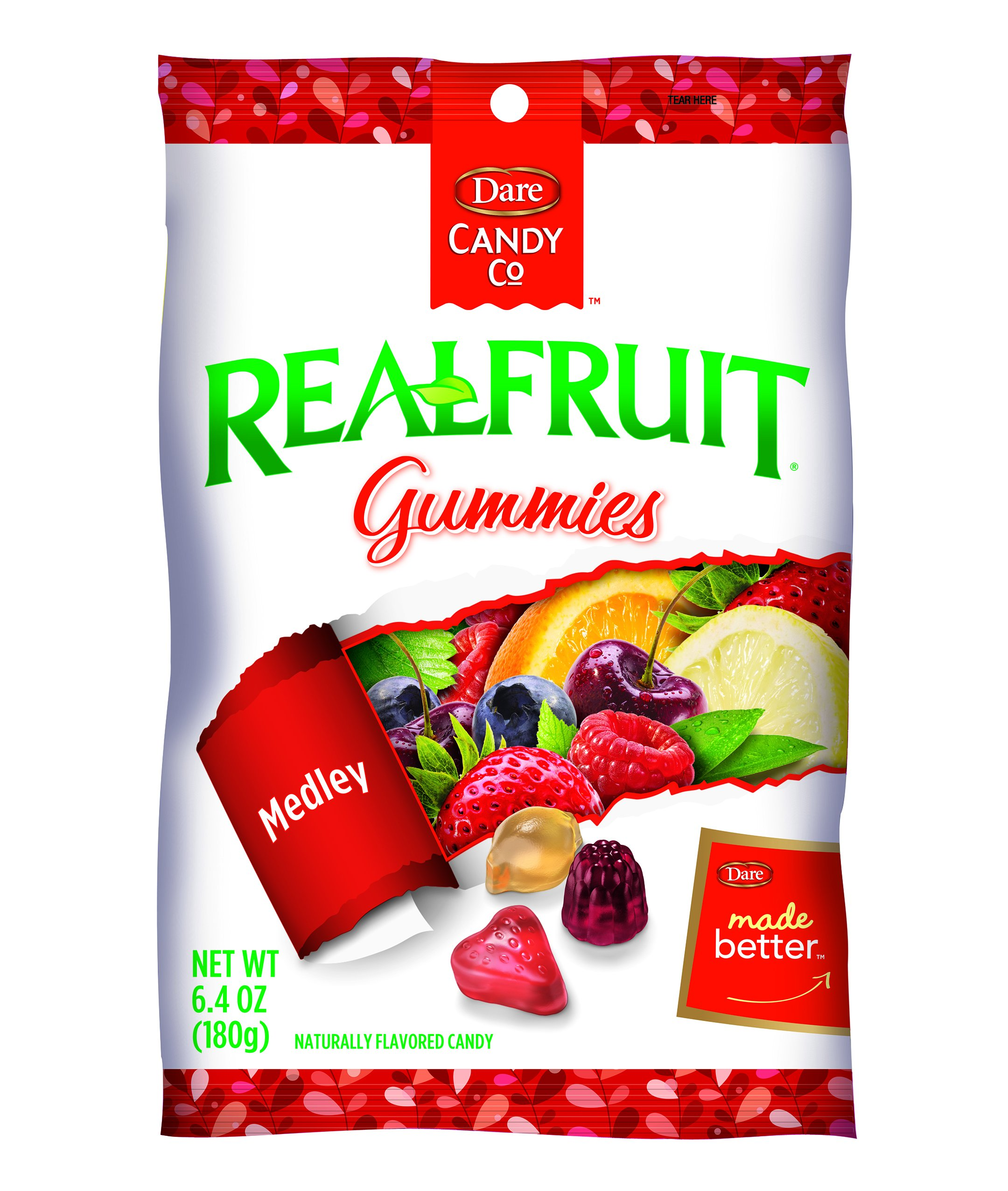 Dare REALFRUIT Gummies Fruit Medley – Naturally Flavored Candies made with Real Fruit and No Artificial Colors or Flavors - 6.4 Ounces (Pack of 12)
