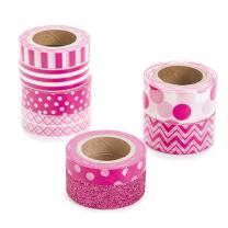 Darice Fuchsia, Patterned Washi Tape, Assorted Sizes, 8 Pieces