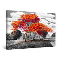 """Startonight Canvas Wall Art Abstract - Orange Trees and White Clouds Painting - Large Artwork Print for Living Room 32"""" x 48"""""""