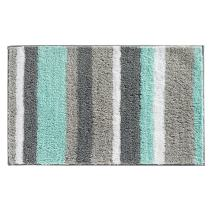 """iDesign Stripz Bath, Machine Washable Microfiber Accent Rug for Bathroom, Kitchen, Bedroom, Office, Kid's Room, 21"""" x 34"""", Mint and Gray"""