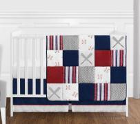 Sweet Jojo Designs Red, White and Blue Baseball Patch Sports Baby Boy Crib Bedding Set - 4 Pieces - Grey Patchwork Stripe