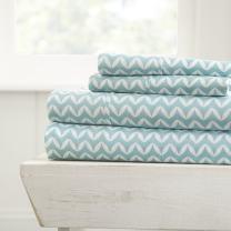 Simply Soft 4 Peice Sheet Set Puffed Chevron Patterned, Queen, Light Blue