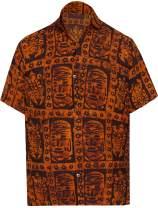 LA LEELA Men's Vintage Fashion Short Sleeve Hawaiian Shirt A