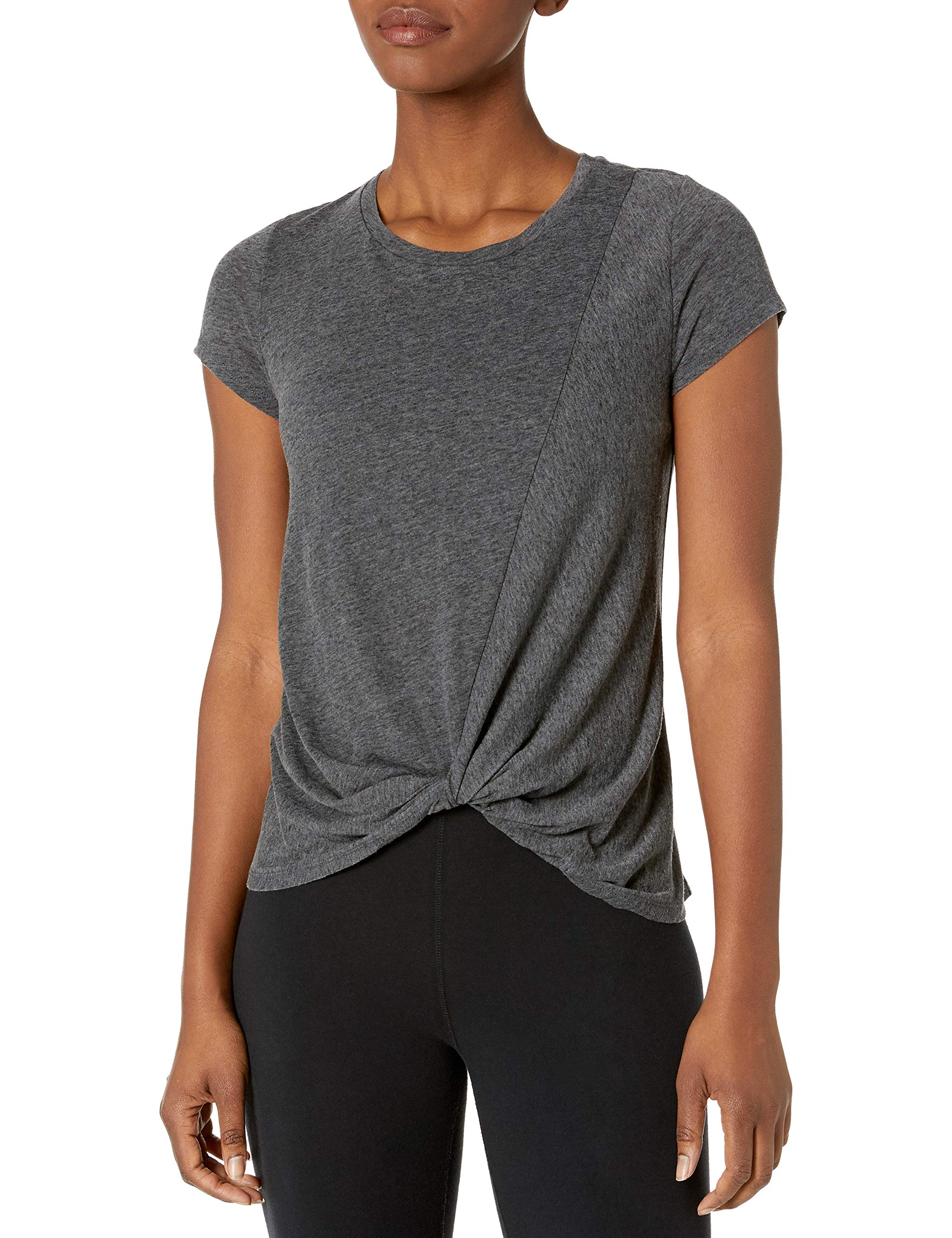 Amazon Brand - Core 10 Women's Tri-Blend Short-Sleeve Twisted Front Workout Tee