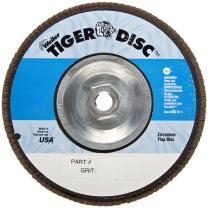 "Weiler 50609 Tiger 5/8""-11 Arbor, 4-1/2"" Diameter, 60 Grit, Zirconium, Phenolic Backing, Angled Abrasive Flap Disc"