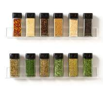 "'Invisible' Acrylic Spice Rack Wall Mount Organizer: [2 Pack 15"" Shelves ] Crystal-Clear Shelves, Strong, Sturdy & Space-Saving"