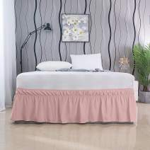 AYASW Bed Skirt 17-18 Inch Drop Dust Ruffle Three Fabric Sides with Elastic No Top Easy On (Twin Blush Pink)