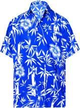 LA LEELA Men's Relaxed Hawaiian Shirt Big and Tall Short Sleeve Shirt Printed E