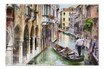 Artwork in Painting Style of Romantic Canals of Beautiful Venice, Italy 9018516 (19x27 Premium 1000 Piece Jigsaw Puzzle, Made in USA!)