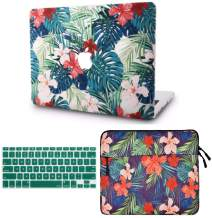 """KECC Laptop Case Compatible with MacBook Air 13"""" w/Keyboard Cover + Sleeve Plastic Hard Shell Case A1466/A1369 (Palm Leaves Red Flower)"""