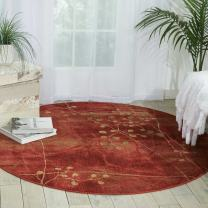 """Nourison Somerset Flame Round Area Rug, 5-Feet 6-Inches by 5-Feet 6-Inches (5'6"""" x 5'6"""")"""