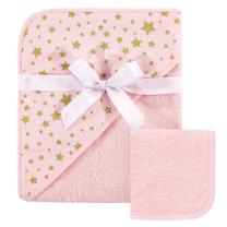 Hudson Baby Unisex Baby Cotton Hooded Towel and Washcloth, Pink Gold Star, One Size