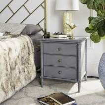 "Safavieh Home Collection Mina Modern Coastal 3 Drawer 25"" Bamboo Nightstand, Grey"