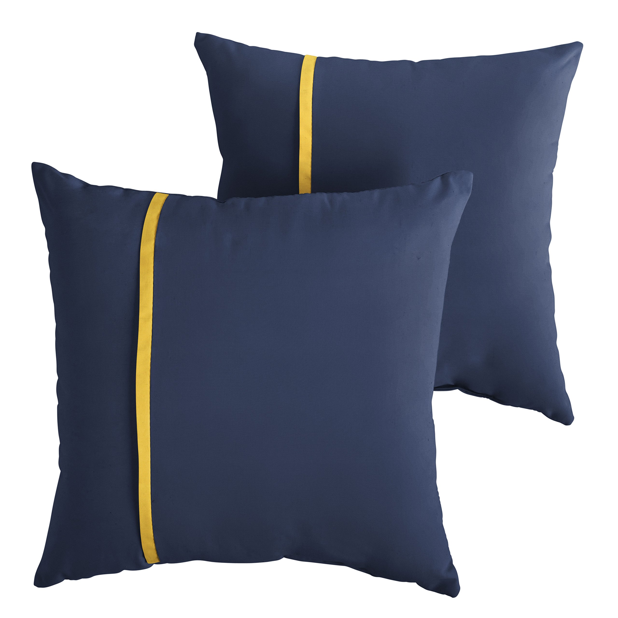 Mozaic Company AMPS113740 Indoor Outdoor Sunbrella Square Pillows, Set of 2, 16 x 16, Canvas Navy Blue & Sunflower Yellow