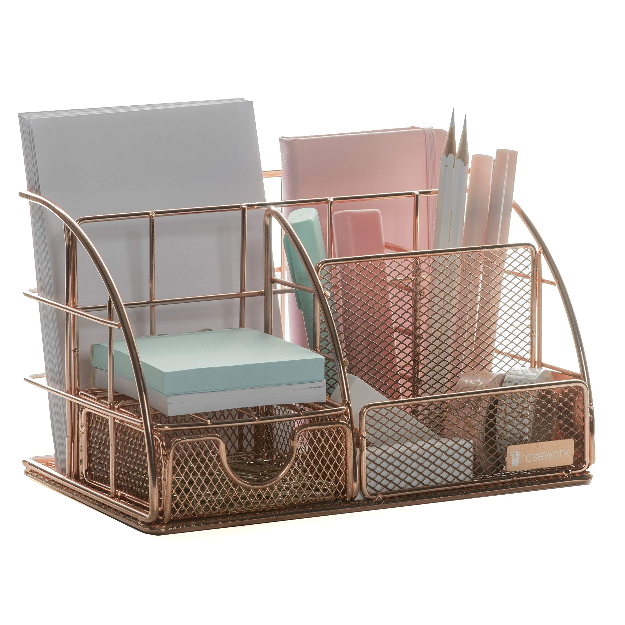 Rosework Rose Gold Desk Organizer for Women, All in One Desktop Organizer with Pen Holder, Pencil Holder and Paper Organizer, Office Organizer for Home Office Supplies and Desk Accessories.