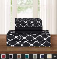 Elegant Comfort Luxury Softest and Coziest 6-Piece Bed Sheet Set, Wrinkle Resistant Milano Trellis Pattern - 1500 Thread Count Egyptian Quality Coziest Bedding Set, Black, California Kind