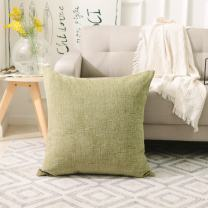 Home Brilliant Spring Decorative Throw Pillow Covers Super Soft Striped Chenille Plush Euro Shams Cushion Cover Cases for Garden, 26 x 26 inches, Fresh Grass Green