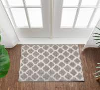 Well Woven Tinsley Trellis Light Grey & Ivory Moroccan Lattice Modern Geometric Pattern 2 x 3 (2' x 3') Area Rug Soft Shed Free Easy to Clean Stain Resistant