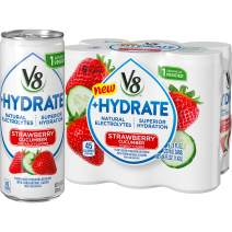 V8 +Hydrate Plant-Based Hydrating Beverage, Strawberry Cucumber, 8 oz. Can, 6 Count