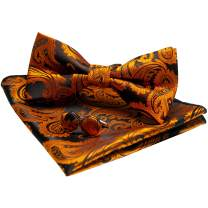 JEMYGINS Mens Paisley Bow Tie and Pocket Square With Cufflinks Set