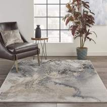 """Nourison Maxell Modern Contemporary Grey Polyester Area Rug 5 Feet 3 Inches by 7 Feet 3 Inches, 5'3"""" x 7'3"""""""