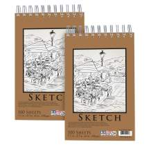 """U.S. Art Supply 5.5"""" x 8.5"""" Premium Spiral Bound Sketch Pad, (Pack of 2 Pads) Each Pad has 100-Sheets, 60 Pound (100gsm)"""