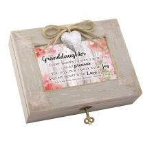 Cottage Garden Granddaughter Heart Love Natural Taupe Wood Locket Music Box Plays How Great Thou Art